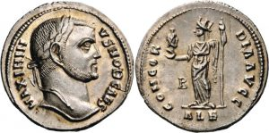 Argenteus -3 -16 g- 305 307 di Massimino II cesare - Alessandria regge testa di Serapis -ex asta Nomos 3 e 4-