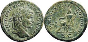 Asse AE -9 -99 g- 216 d.C. di Caracalla - Roma -ex asta Dr. Busso Peus 415-