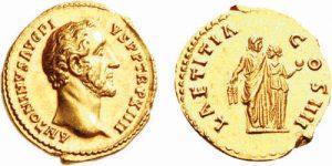 Aureo AV 151 d.C. di Antonino Pio - Proserpina regge una melagrana -da CNG-