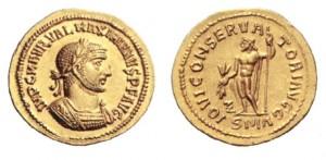Foto 2. Aureo di 5,36 grammi coniato ad Antiochia nel 286 per Massimiano.