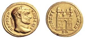 Foto 3. Aureo di 5,47 grammi coniato a Roma nel 294 per Costanzo cesare.