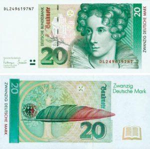 banconota da 20 marchi 1993 con ritratto di Annette von Droste-Hülshoff