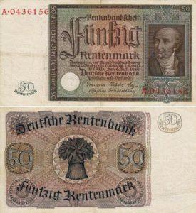 banconota da 50 marchi 1934 con ritratto di Heinrich Friedrich Karl von Stein