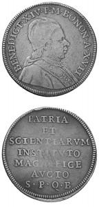 Benedetto XIV - Scudo da 4 lire A.-XVII