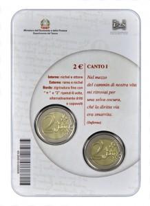 """2 EURO PER IL """"750° ANNIVERSARIO NASCITA DANTE ALIGHIERI"""