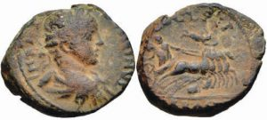 Bronzo -13 -02 g- di Caracalla - Giudea - Plutone su quadriga rapisce Persefore -eAuctions CNG 361-
