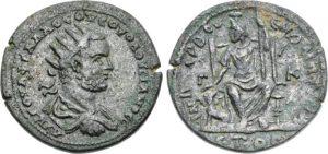 Bronzo AE -14 -71 g- 251 252 d.C. di Volusiano - Cilicia -ex asta CNG 91-