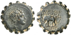 Bronzo dentellato di Antioco VI, Seleucidi 144-142 a.C., Antiochia (ex asta Paul-Francis Jacquier 7-9-2012)