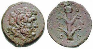 Bronzo ca. 250 a.C. (9,62 g, 23 mm) Cyrene, tipo Ammon e silfio (ex asta Triton V, 15.1.2002)