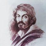 Bozzetto del ritratto di Caravaggio raffigurato sul recto del 100.000 lire del 1983.