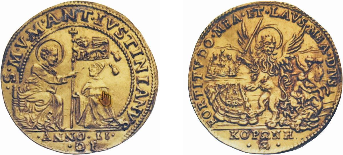 osella d'oro da 4 zecchini, Anno II 1685