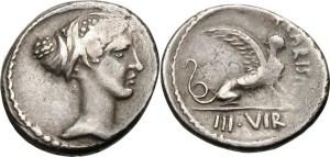 Denario di Carisius (46 a.C.) con Sfinge