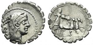 Denario serrato di Procilius 80 a.C. (ex asta ArtCoins Roma, 20-5-2013))