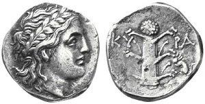 Didracma 300-277 a.C. in argento (6,59 g) Cyrene, testa di Apollo Myrtous e silfio (ex asta New York IV, 17.1.2002)