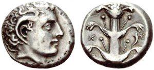 Didracma in argento (7,49 g) Cyrene, testa di Carneius con corna di ammone e pianta di silfio (ex asta UBS 78, 9.9.2008)