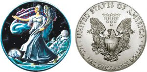 Dollaro 2016 in argento, USA, Walking Liberty su marte e meteorite marziano