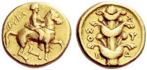 Dracma 331-321 a.C. in oro (4,26 g) Cyrene (ex asta Gorny e Mosch 195, 7.3.2011)
