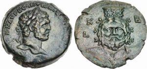 Dracma AE -21 -46 g- 231 214 d.C. di Caracalla - busto frontale di Serapis -ex asta CNG 94-