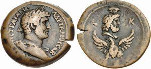 Dracma AE -22 -24 g- 135 136 d.C. di Adriano - Alessandria -ex asta CNG 91-