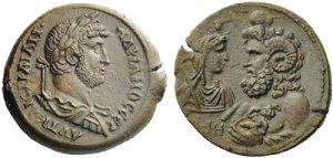 Dracma AE -22 -68 g- 133 134 d.C. di Adriano - Alessandria - busto di Serapis Zeus Ammone -Ex asta NAC 52-