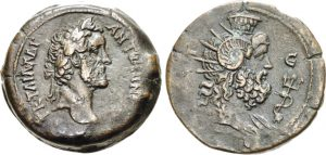 Dracma AE -31 -42 g- 141 142 d.C. di Antonino Pio - Alessandria - testa di Serapis Pantheos -ex asta Triton XVIII-