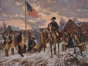 Edward P. Moran, George Washington a Valley Forge, olio su tela (1911), Library of Congress, Washington.  Nel dicembre del 1777 Washington condusse l'esercito continentale da lui guidato (vale a dire l'esercito delle tredici colonie britanniche nordamericane, diventate successivamente gli Stati Uniti d'America) a Valley Forge per passarvi la stagione fredda. In questa località della Pennsylvania, scelta per la sua relativa vicinanza ai contingenti inglesi e per la sua facile difendibilità, le truppe indipendentiste furono riorganizzate e addestrate in vista delle successive battaglie: la guerra di indipendenza americana, infatti, scoppiata nel 1775, terminò solo nel 1783.