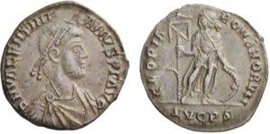 Miliarense di 4,98 grammi coniato a Lugdunum da Valentiniano II