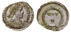 Siliqua di 1,68 grammi di peso coniata a Costantinopoli da Valentiniano I