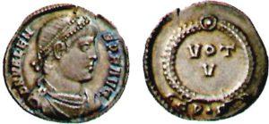Siliqua di circa 2,30 grammi di peso coniata a Costantinopoli da Valente