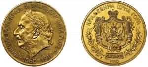 100 perpera in oro di Nicola I del Montenegro