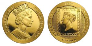 2 corone 1990 in oro, Penny Black, isola di Ma