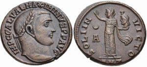 Follis AE -7 -11 g- 311 313 di Massimino II - Antiochia - il Sole regge testa di Serapis -eAuctions CNG 269-