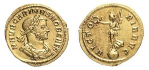 Aureo di 4,16 grammi coniato a Siscia nel 282 quando Carino era ancora Cesare