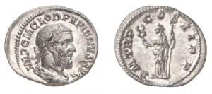 Denario di 2,91 grammi coniato a Roma tra l'aprile ed il luglio del 238