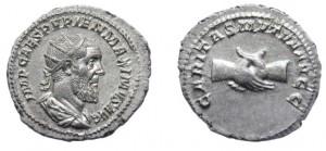 Antoniniano di 4,73 grammi coniato a Roma tra l'aprile ed il luglio del 238
