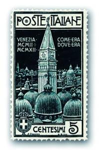 Francobollo da 5 cent (blu-nero) emesso il 25 aprile 1912 con la raffigurazione del Campanile di San Marco