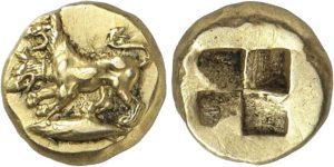 Hekte EL -2 -60 g- 500 450 a.C. zecca di Cizico - il cane Cerbero -ex asta Gorny & Mosch 236-