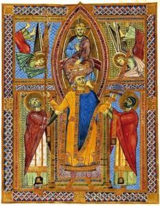L'incoronazione di Enrico II il Santo in una miniatura dell'epoca.