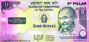 India, banconota da 0 rupie Gandhi