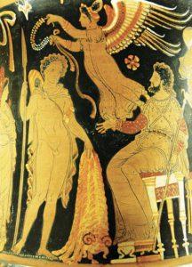 Giasone riporta a Pelia il Vello d'oro, cratere apulo
