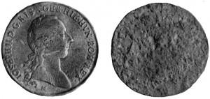 Lamina in stagno (?) riproducente il solo diritto di uno scudo milanese di Giuseppe II.