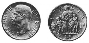 Lire 5, 1936, XIV argento