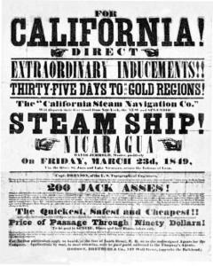 Manifesto che pubblicizza la corsa all'oro in California
