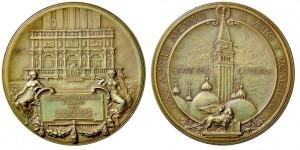 Medaglia 1902 in bronzo (30,45 g) per la ricostruzione del campanile di Piazza San Marco, Venezia