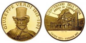 Medaglia 1971 in oro (8,85 g, 22 mm) centenario Aida (ex asta Ponterio & Associates giugno 2011)