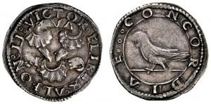 Mezzo carlino in argento di Alfonso II d'Aragona, Napoli.