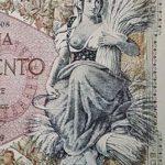 Progetto del bozzetto del 500 lire Mietitrice con originale calcografico ed esecuzione finale della stampa.