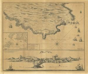 Veduta di Piombino dal mare, incisione di Pierre Mortier, 1623.