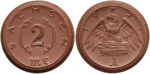 Notgeld da 2 marchi 1921 in porcellana, Sachsen, Germania