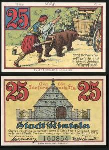 Notgeld da 25 pfenning 1920, Rinteln, Germania, orso ballerino